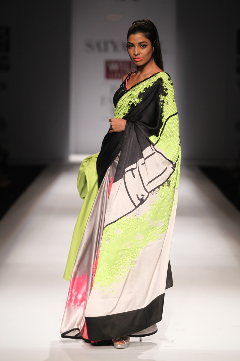 Masaba At Amazon India Fashion Week Spring Summer 2017: #neon #sarees #lakme Fashion Week #Masaba Gupta #Manish